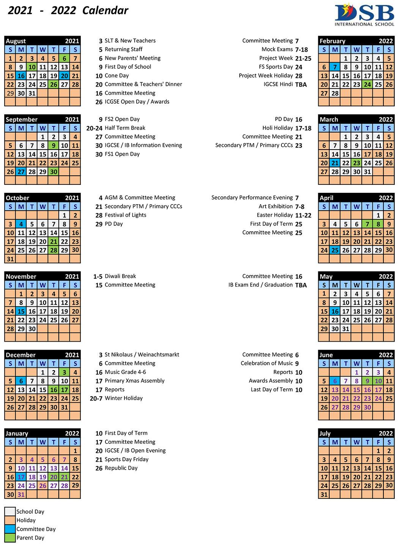 Academic School Calendar Dsb India